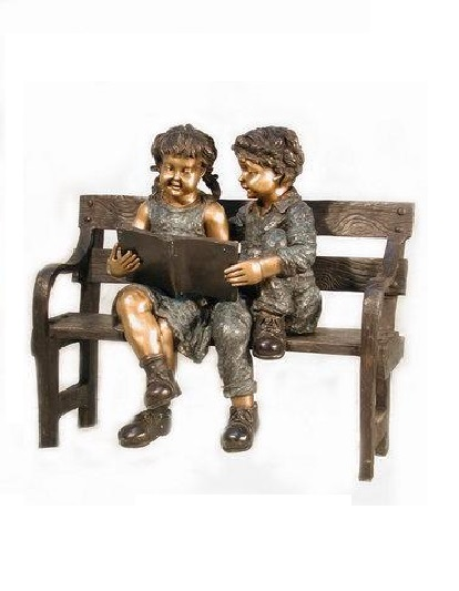 Bronze Kids Reading On Bench