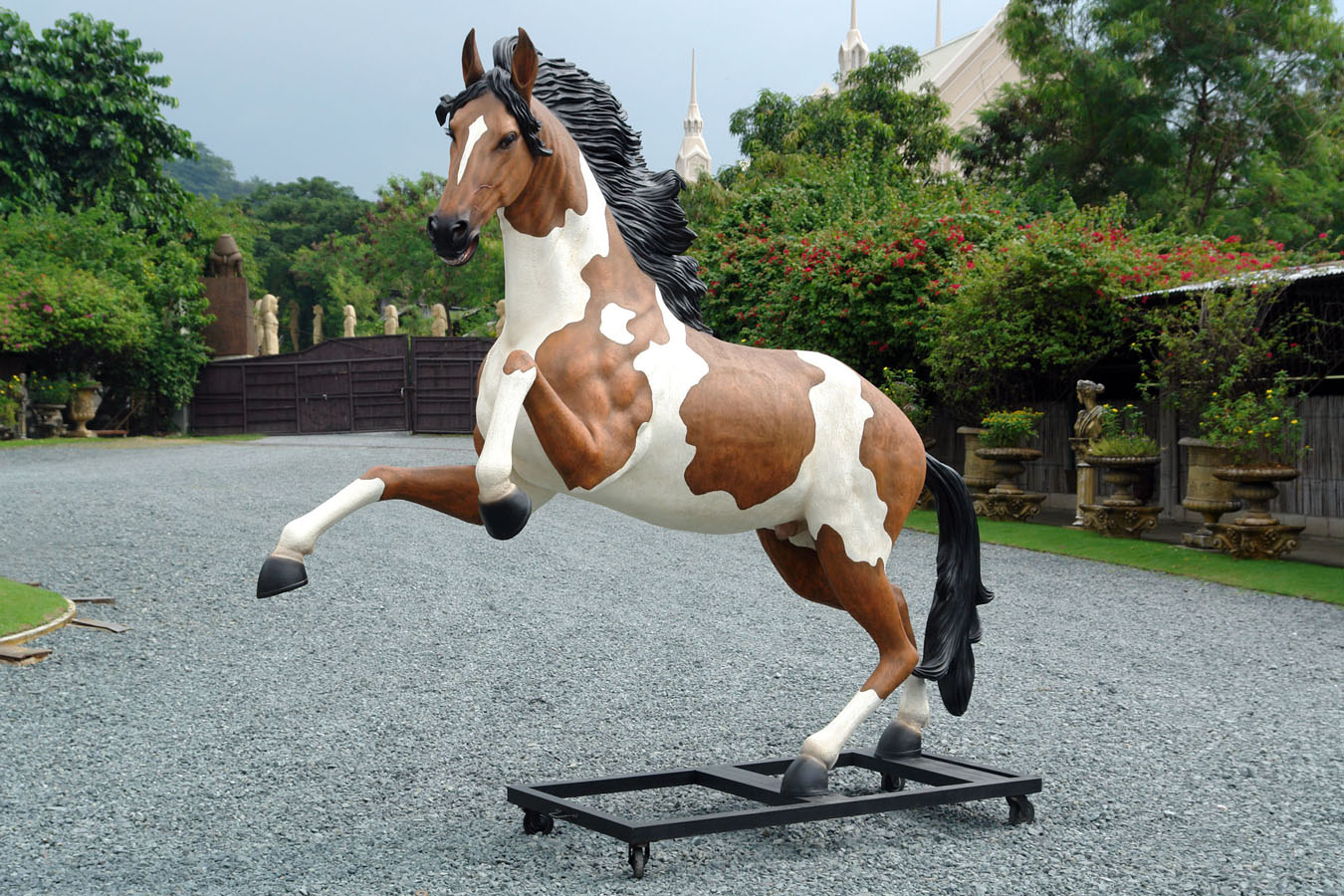 Rearing Indian Horse with Metal Base