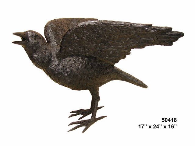 Bronze Raven with wing out - Click Image to Close
