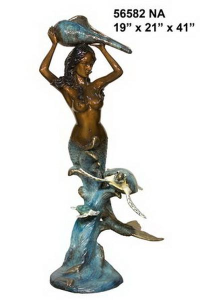 Bronze Mermaid With Turtle Fountain