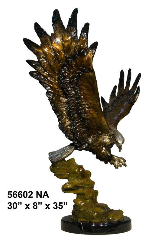 Bronze Flying Eagle On Rock