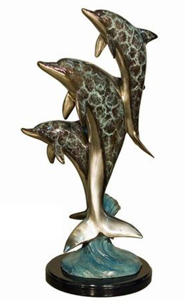 Bronze Three Dolphins on Marble base