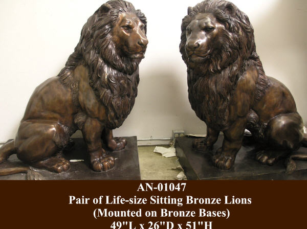 Pair of Life-size Sitting Bronze Lions