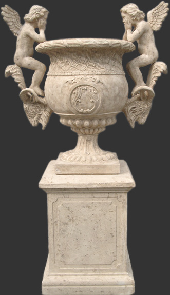 Fiberglass Angels Urn on Base (Urn not Included)