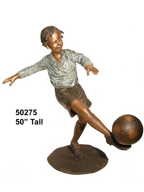 Bronze Boy Kicking a Soccer Goal