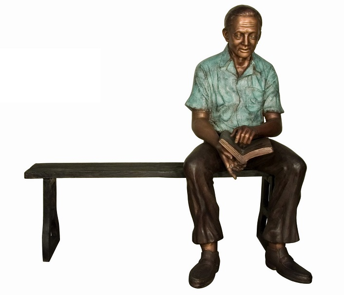 Bronze Man Reading Book on Bench