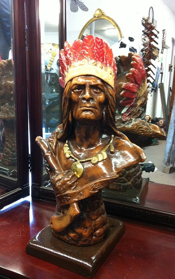 Wooden Indian Bust 23''