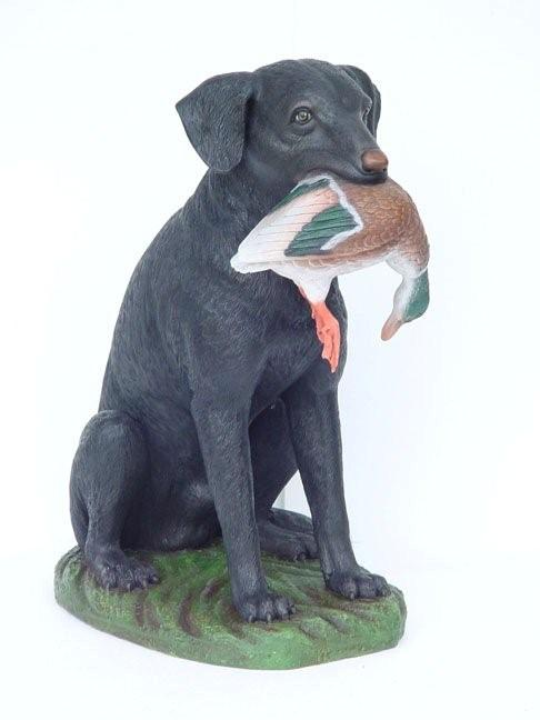 Black Labrador with Duck in Mouth