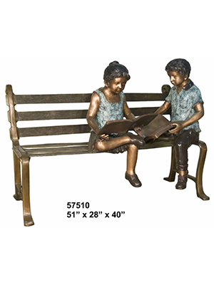 Boy and Girl Reading on Bench
