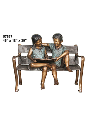 Boy & Girl Reading on Bench