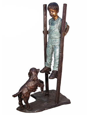 Boy on Stilts with His Dog