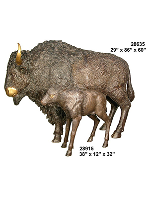 Bronze Buffalo and Calf Statues