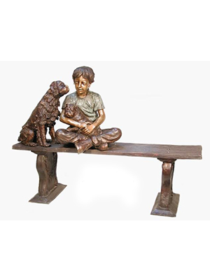 Bronze Girl with Two Dogs Sitting on Bench