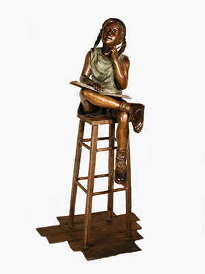 Bronze Girl reading on Stool