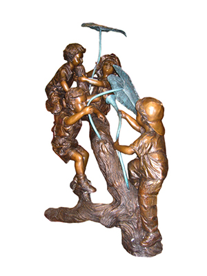 Four Kids in Tree Fountain