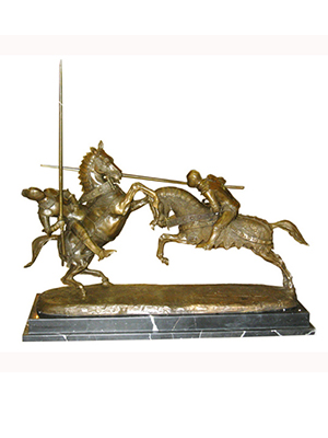 Bronze Knights on Marble Base