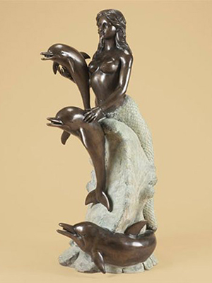 Bronze Mermaid with Dolphins on Wave Fountain