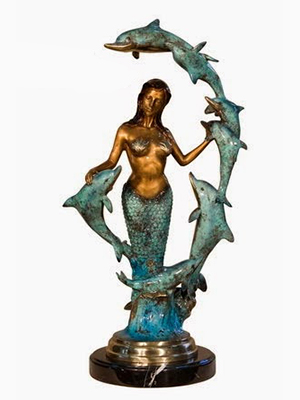 Bronze Mermaid with Dolphins 2