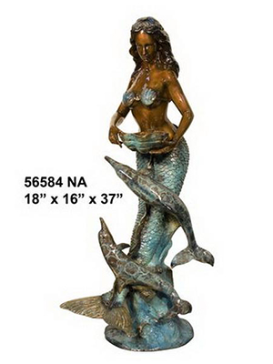 Bronze Mermaid With Dolphins Fountain