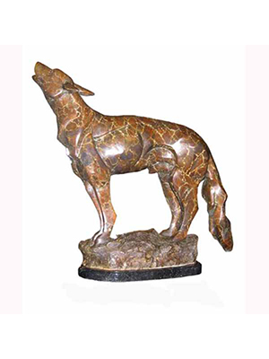 Bronze Wolf with Marble Base