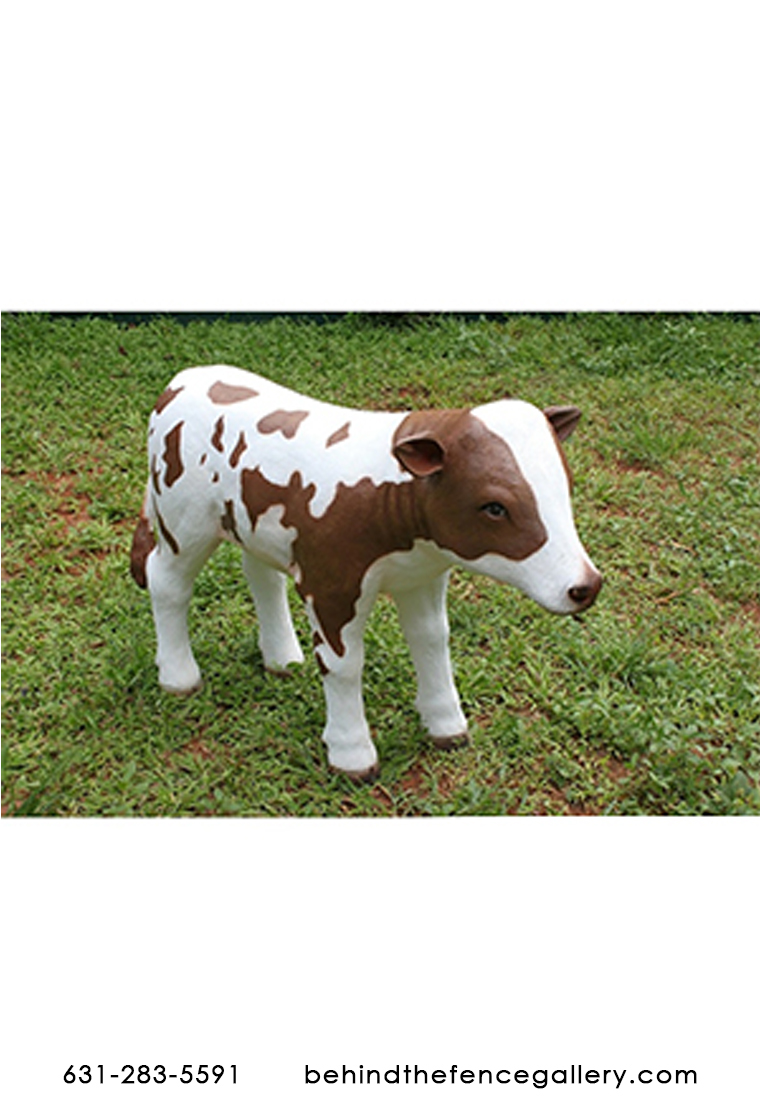 Brown and White Baby Cow Statue