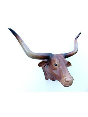 Bull Head with Long Horns (Brown)