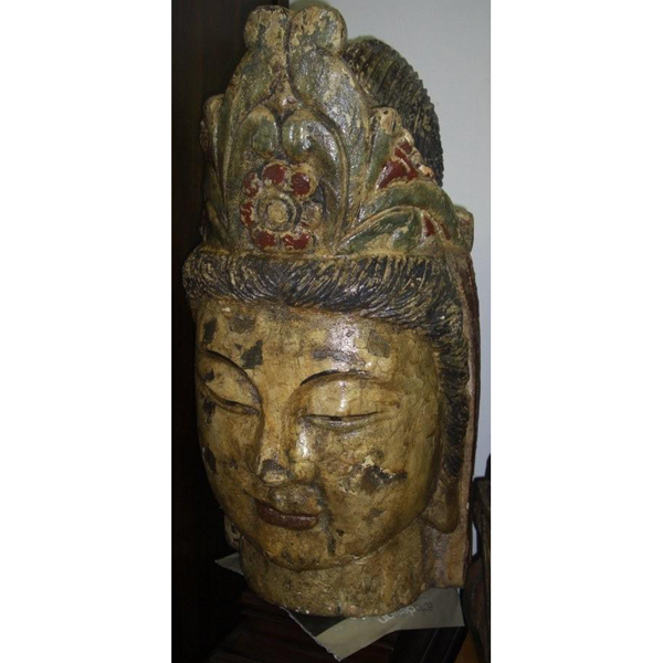 Hand Carved wood Buddha Head