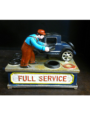 Service Station Authentic Foundry Cast Iron Mechanical Bank