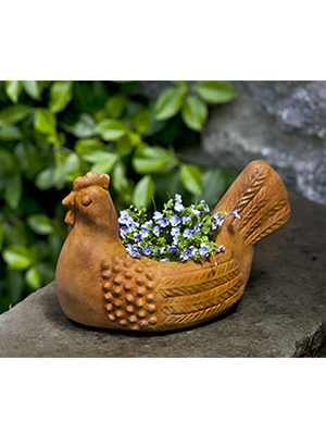 Cast Stone Hen Planter