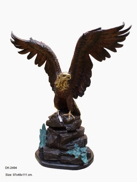 Eagle Open Wings on Rock 44""