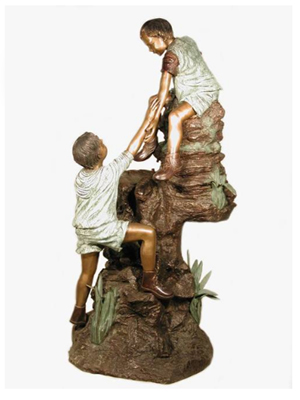 Bronze Children Climbing Rock