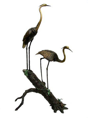 2 Cranes on Stump (Head Down)