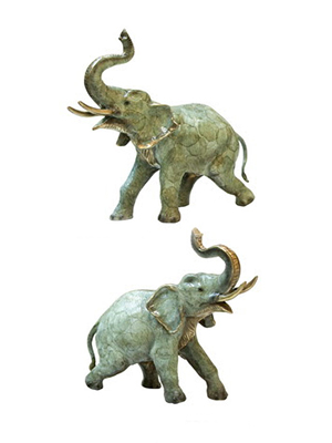 Bronze Elephant Pair with Trunk Up