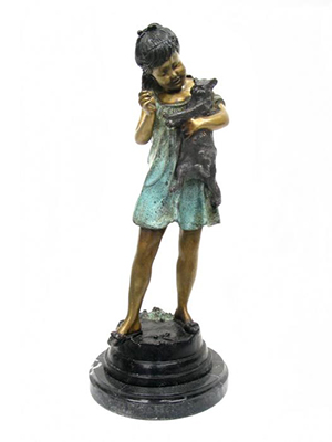 Bronze Girl with Cat