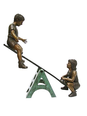 Bronze Children Playing on Seesaw