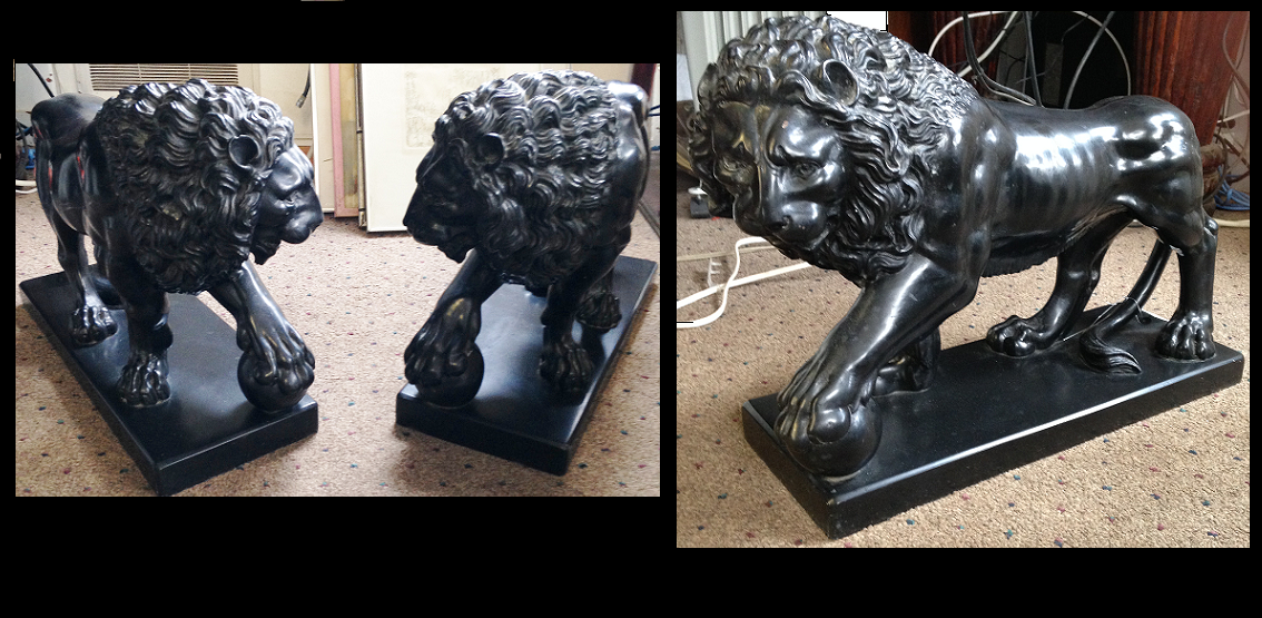 Marble Guardian Lion Pair