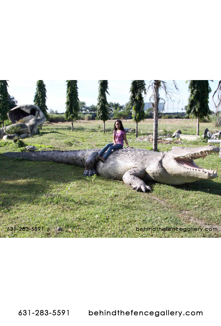 Large Life Size Crocodile Statue 28 ft.