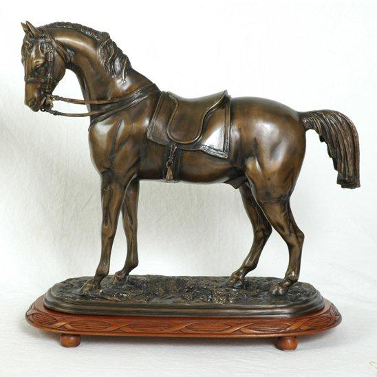 Bronze English Horse on wood base