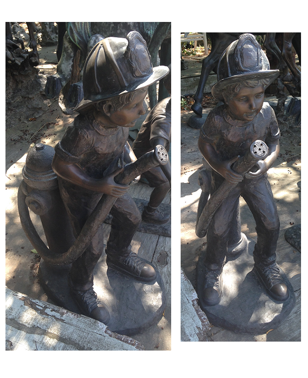 Bronze Boy playing Fireman with a Hose