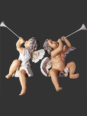 Statue Cherubs Hallelujah Antique Cracked Finish