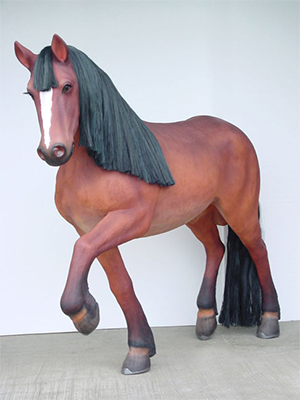 Life Size Fiberglass Walking Horse Statue with Mane