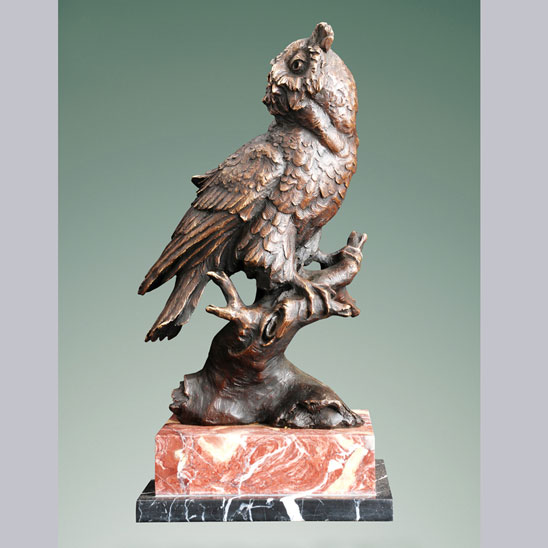 Bronze Owl on Marble Base