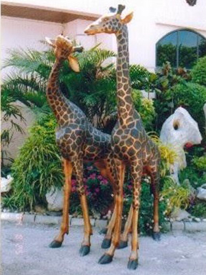 Bronze Pair of Big Giraffes