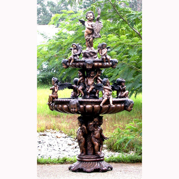 Bronze 3 Tier Cupid Fountain