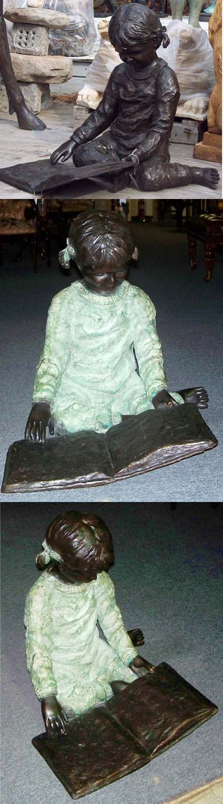 Bronze Girl sitting and reading