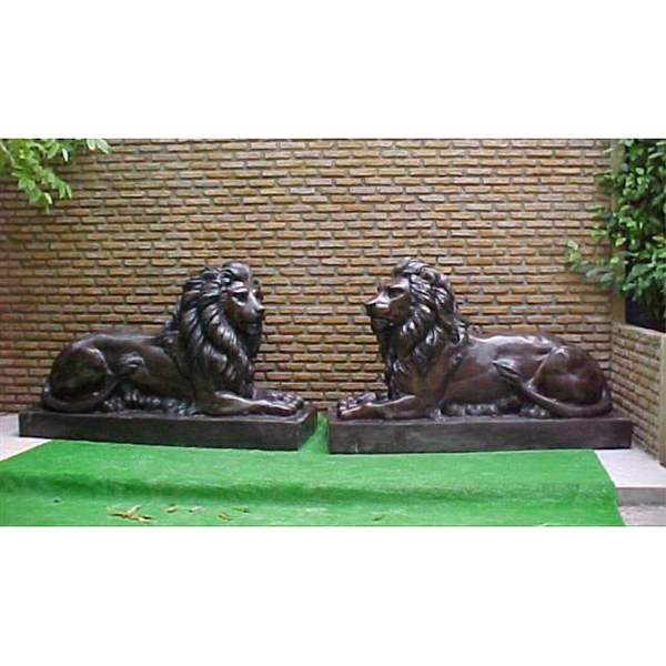 Pair of Bronze Laying Lions