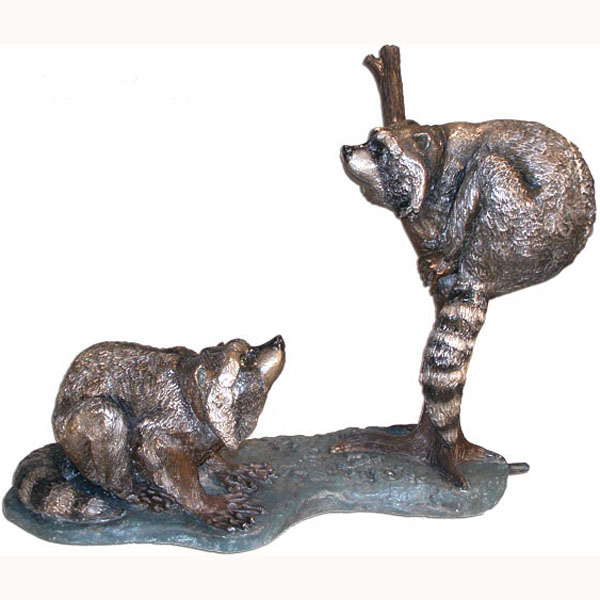 Bronze Two Racoons on a Log