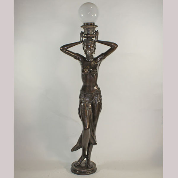 Bronze Life Size Woman Lamp