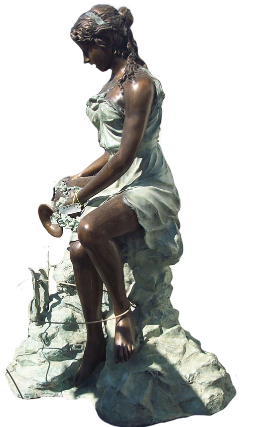 Bronze Sitting Lady with Jar