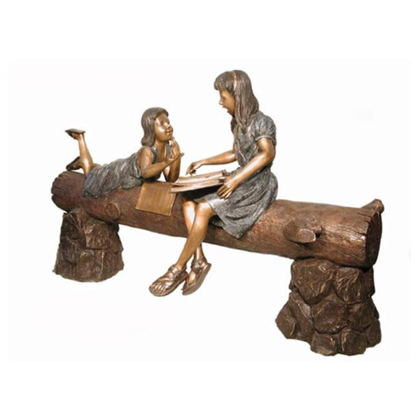 Bronze Girls on a Log